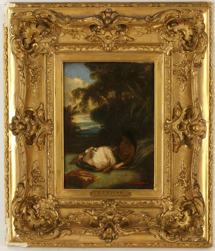 "STANISLAS VICTOR EDOUARD LEPINE (French, 1835-1892). 'L'Africaine', after Richard Parkes Bonington (1802-1828). Oil on canvas, laid to panel (with supporting cradle). With label fragment verso. Signed lower right. 19 X 13.5cm. In a fine 19th century gilt frame, with slip and nameplate.    FOOTNOTES: The original watercolour and gouache work by Bonington is dated to 1827 and titled ""An Indian Maid"" [No. 371 in the catalogue Raisonne by Patrick Noon]. In 1829 the work was engraved by Sangster for the 'Bijou' (4th Oct Ed.), and given the title ""African Daughter"". Despite his very early death at the age of 26, the work of Bonington, especially to the French School, was championed by his friends Eugene Delacroix, and Jean Baptiste Camille Corot. This version by Lepine most closely resembles the engraved version after which it takes the title shown and most likely dates to circa 1860/70. ""An Indian Maid', by Richard Parkes Bonington, is part of the collection of The Louvre, Paris."