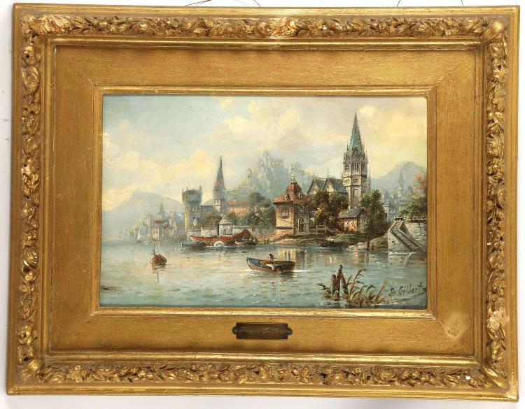 FRANCOIS GILBERT 1843-1901. Oil on panel Swiss landscape, with paddle boat and figures to fore and distant mountain views. Signed lower right. In a period giltwood frame with engraved bronze nameplate, 39cm x 25cm.