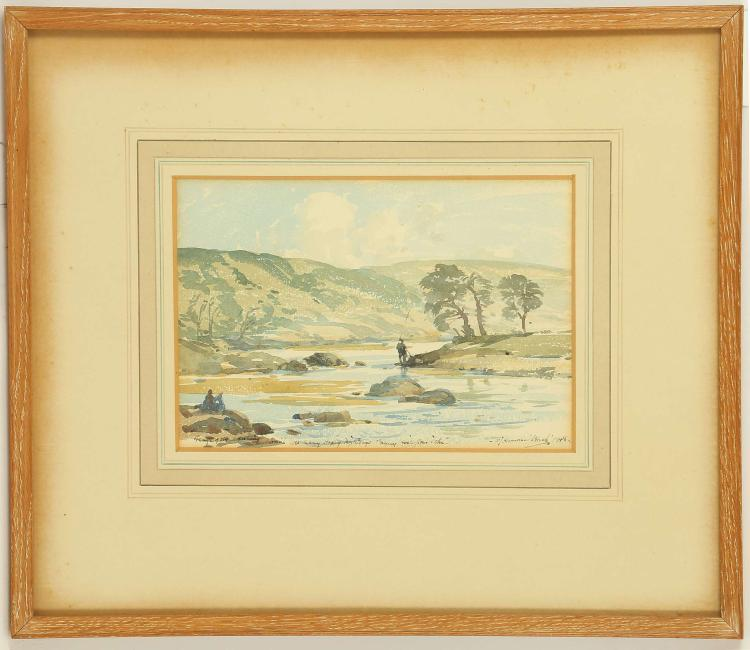 JOHN LAMORNA BIRCH 1869-1955. A set of four watercolours circa 1948/9. Subjects are fishing in the River Derwent, and St Michaels Mount, Cornwall.  Gifted by the artist to the parents of the present owner in 1950. Various sizes, the largest 12cm x 17cm. In matching lime wood frames (4).