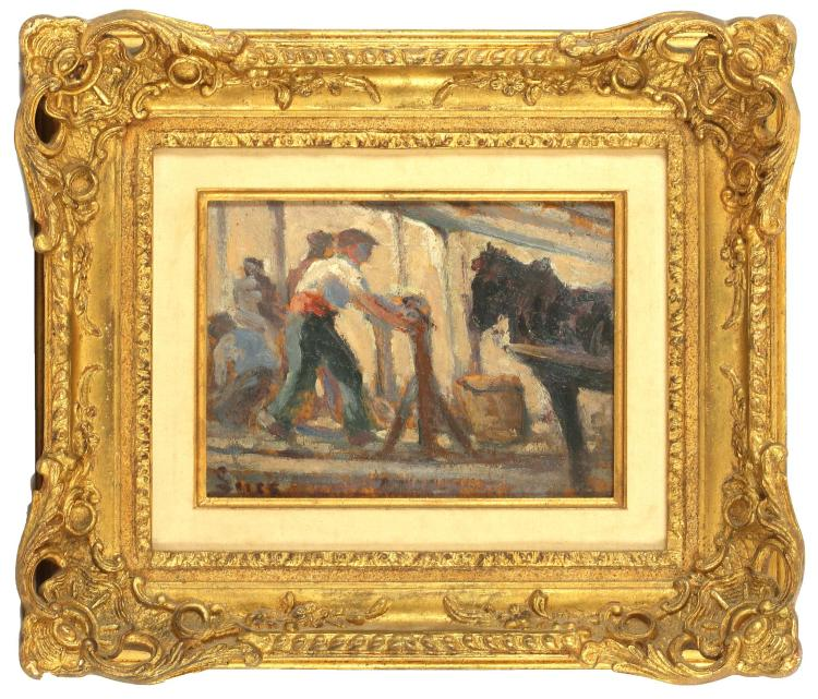 LATE 19TH CENTURY, POSSIBLY FRENCH SCHOOL. 'The Blacksmith', oil on panel, in contemporaneous giltwood frame. Indistinctly signed lower left, 13.5 x 19cm.