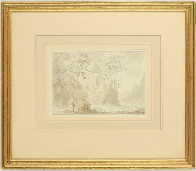 ANTONY DEVIS 1729-1817. 'An Angler by a Mountain Stream'. Pencil, pen and grey ink and watercolour. Well mounted and framed, 13.4 x 20cm. Provenance: The Ruskin Gallery Ltd, and with Spinks, London. Well mounted and framed.