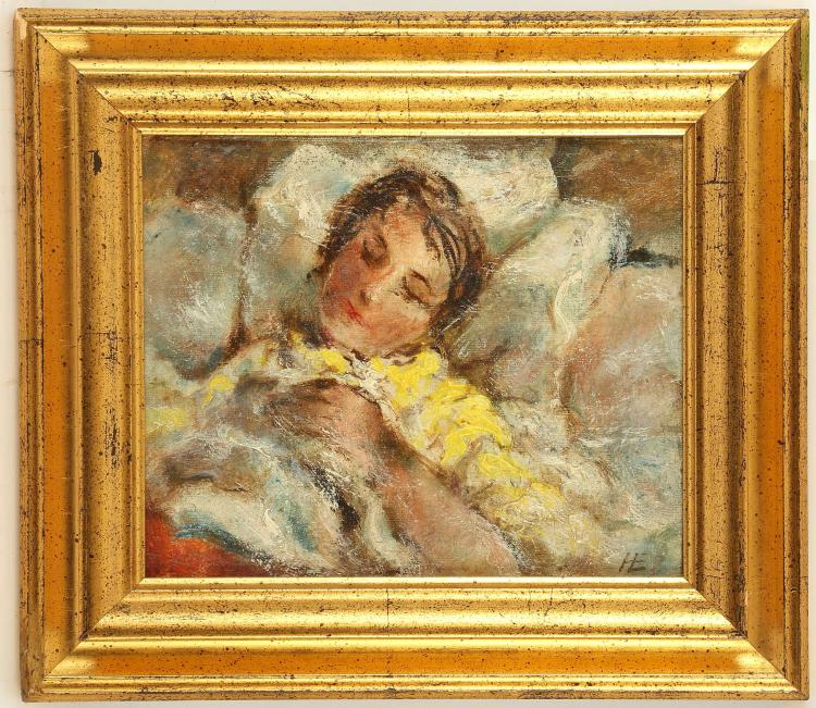 HANS EKEGARDH 1881-1962, Sweden. 'En Dormie', a pair of small oil on canva studies of 2 young women asleep. Both monogrammed 'HE' and further inscribed verso. 17 x 20.5cm, framed. (2)
