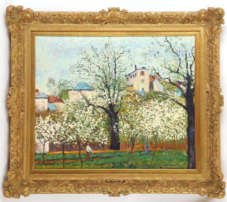 ATTRIBUTED TO EMILE DE HORY 1906-1976, HUNGARIAN. 'Paysage' after Camille Pissarro. Oil on canvas Signed verso and dated 1970. In a good gilt frame with slip, 50 x 60cm.