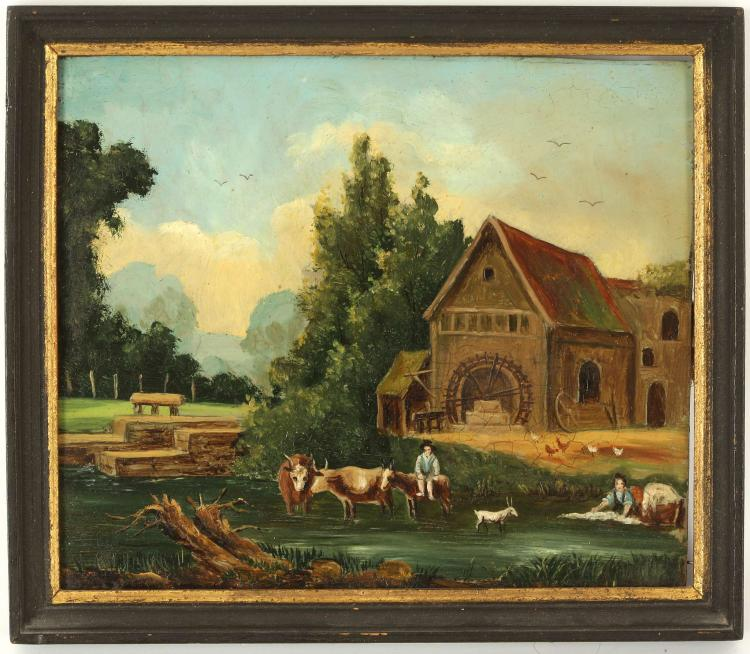 A PAIR OF CIRCA MID 19TH CENTURY GERMAN / SWISS, oil on copper landscape views of cattle afore a watermill with distant views and boats approaching a quayside with windmill. Both framed. 10.5 x 13cm.