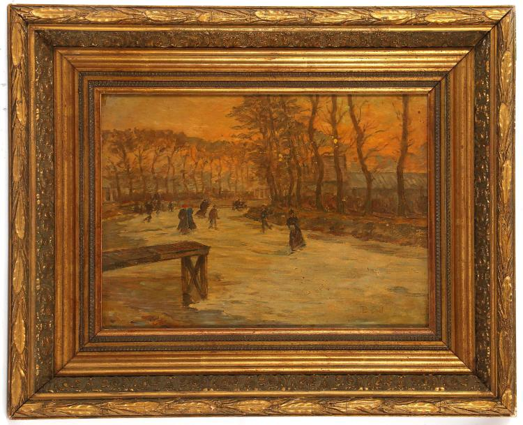 JEAN BAPTISTE BRUNEL (French, 1844-1929). 'Winter Skaters'. Oil on panel. Signed lower right. Dated on the panel verso, 1909. In a good giltwood frame.