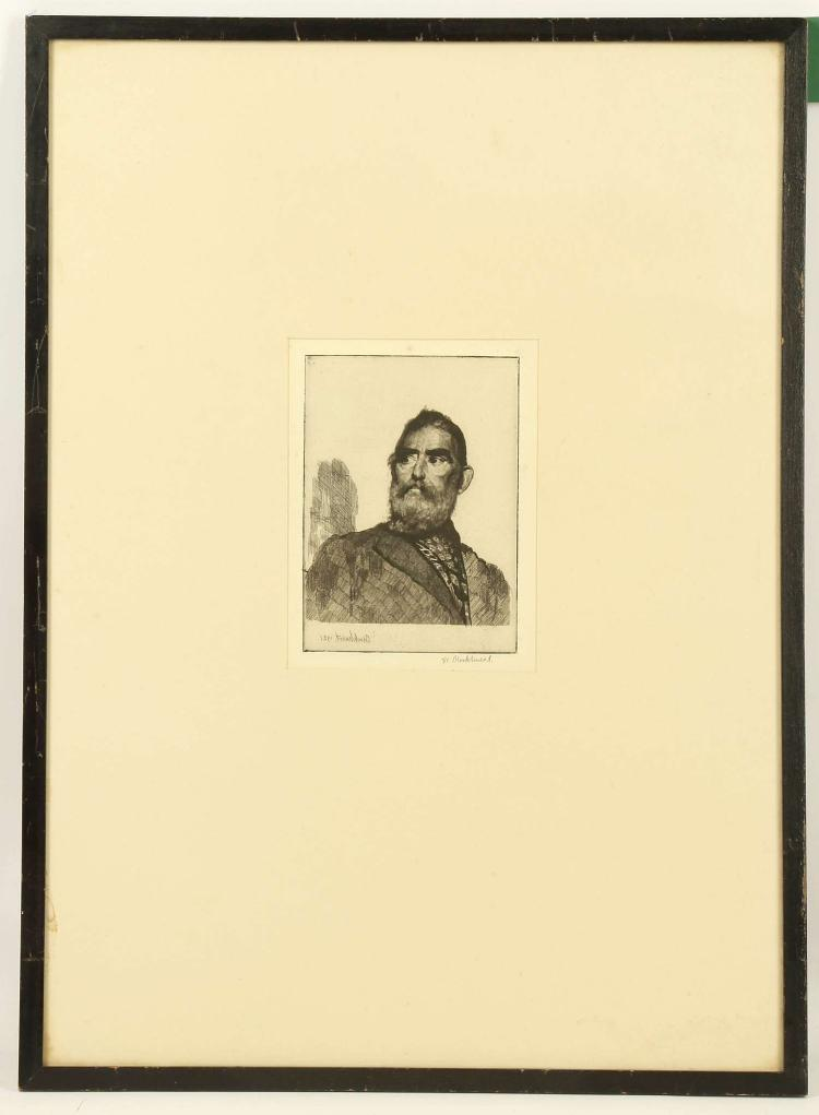 GERALD LESLIE BROCKHURST 1890-1978. 'An Old Corsican'. Etching on J Watman, 1921. Edition of 76. Plate size: 16cm x 11.5cm. Signed in pencil lower right and within the plate. Mounted and framed. The model for this portrait was the wood engraver, Marquett.