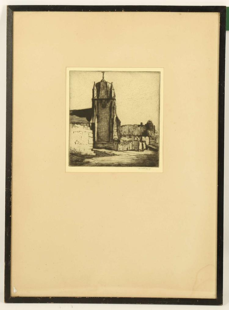 WILLIAM STRANG 1859-1921. 'A Normandy Church'. Etching. Signed lower right. Plate size: 18.5cm x 17.5cm. Mounted and framed.