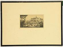 DONALD SHAW MACLOUGHLIN 1876-1938 b. Canada, d. Morocco. 'A Continental Landscape'. Etching. Pencil signed. Plate size: 11.8cm x 21.9cm. Mounted and framed.