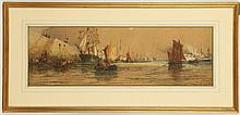 THOMAS BUSH HARDY 1842-1897. 'Boulogno Harbour'. Watercolour, with body colour and scratching out. Harbour scene with views to distant masted ships and a paddle steamer on the river. Signed and inscribed lower right, and dated 1889. Mounted, glazed and in a good giltwood frame, 22cm x 68cm.