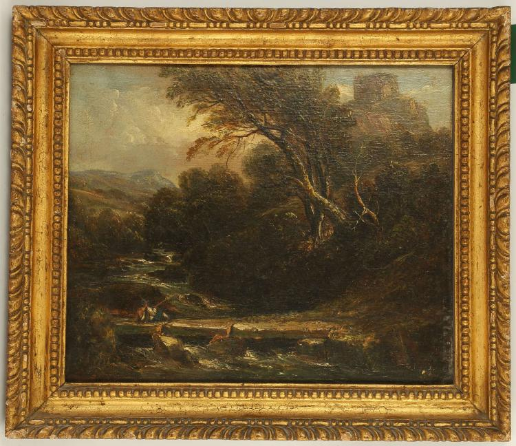 CIRCA LATE 18TH CENTURY BRITISH. 'Fisherman in the Landscape'. Oil on panel rural scene with distant views to a hillside ruined castle and the upper reaches of a flowing river. With good impasto. In a period giltwood frame, 25 x 30cm. Verso, four sets of old Christies stencil numbers.