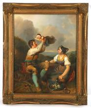 JOHANN MATTHIAS RANFTL 1805-1854. 'A Family Takes Lunch'. A very fine oil on panel. A labourer holds his daughter aloft as his wife prepares food, with distant landscape views. Signed lower right and dated 1837. In a good giltwood frame, 43 x 35cm.  Provenance: This work once hung in the Monaco home of the Rothschild family.