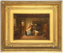 ENGLISH SCHOOL CIRCA 1820/40. 'The New Baby'. Oil on panel interior parlour scene, with a nursing mother trying to keep her patience as around her older children play hide and seek. Unsigned. 15 x 20.5cm, in a good giltwood frame. Panel label for Waring and Dimes of Gt. Russell St.