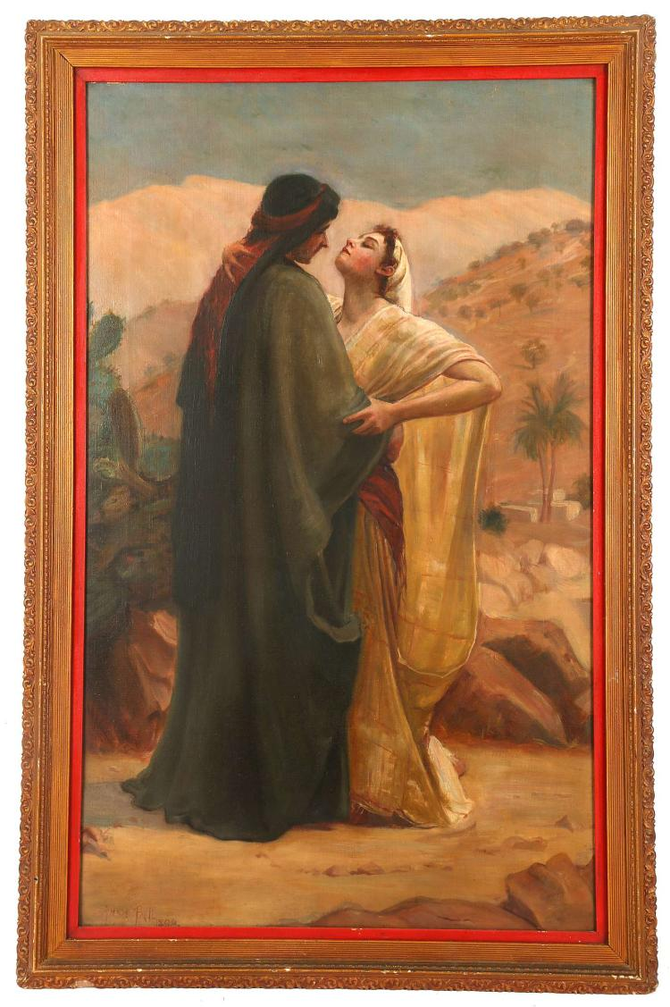 ANNIE BELL, late 19th Century British. 'The Embrace'. Oil on canvas, Orientalist depiction of an exotic female in flowing garment being held by her admirer in an olive green robe. Signed lower left. In a giltwood frame with velvet slip.