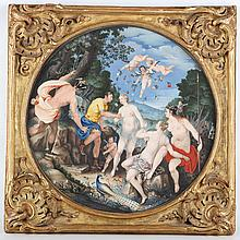 Follower of Hendrick Golzius 1558 - 1617 and Jacob Matham 1571 - 1631. 'The Judgement of Venus'. An exceptional watercolour, gouache and stipple work on vellum. In the round, and set in a baroque carved frame, with spun glass. Verso, an earlier label indicating this work was previously attributed to the great pastellist Rosalba Carriera 1673 - 1757, and exhibited in Northampton 1876.   Private Collection.