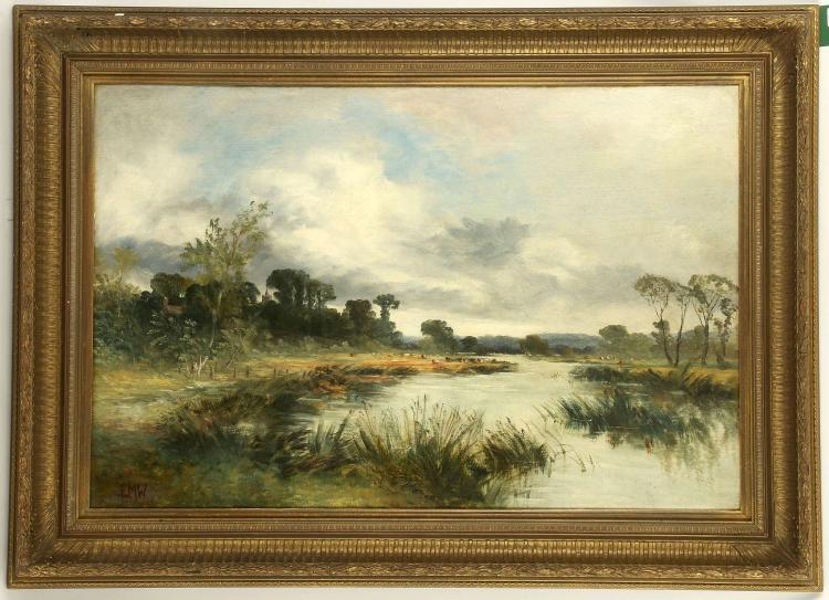 EDMUND MORISON WIMPERIS 1835-1900. 'Riverscape with Grazing Cows'. Oil on artist milled board. Monogrammed lower left. In a good giltwood frame, 50cm x 75cm.