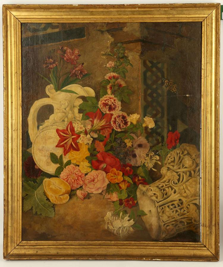 CIRCA EARLY 19TH CENTURY CONTINENTAL SCHOOL. 'Butterfly and Flowers Amidst Ruins'. Oil on canvas indistinctly signed lower right. A selection of garden blooms and fauna thriving. In period giltwood frame. 68 x 57cm. A/F.
