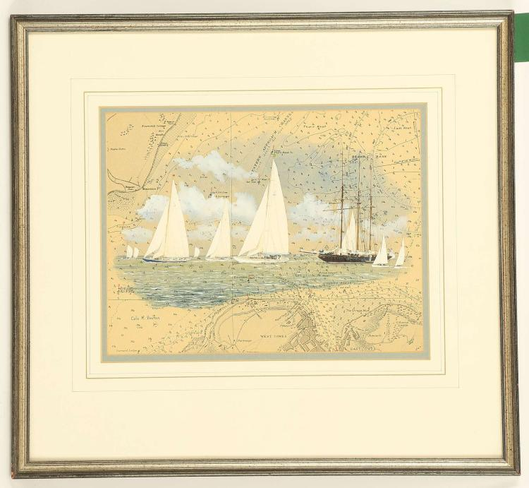 COLIN M. BAXTER, late 20th and contemporary. 'Chartwork - American Visitors to Cowes Week 1935'. Watercolour and gouache. Signed and inscribed verso. In a good mount, framed. 23cm x 29cm.