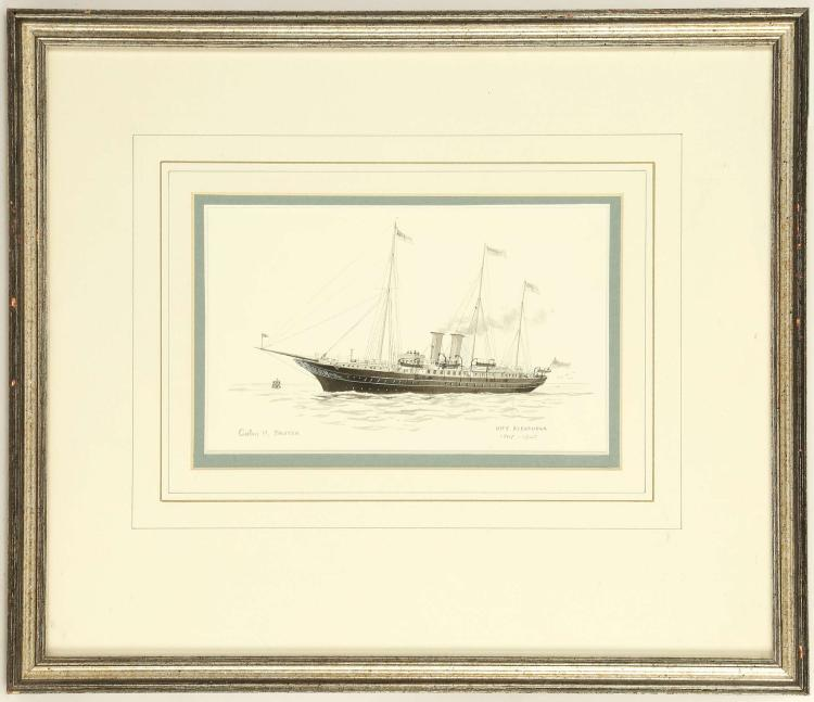 COLIN M. BAXTER. 'HMY Alexandra 1907-1925'. Gouache and watercolour with wash. Pencil signed and inscribed, Together with 'HMY Victoria & Albert 1855-1904', and 'HMY Victoria & Albert III 1899-1955'. All mounted and framed. 11cm x 17.5cm.