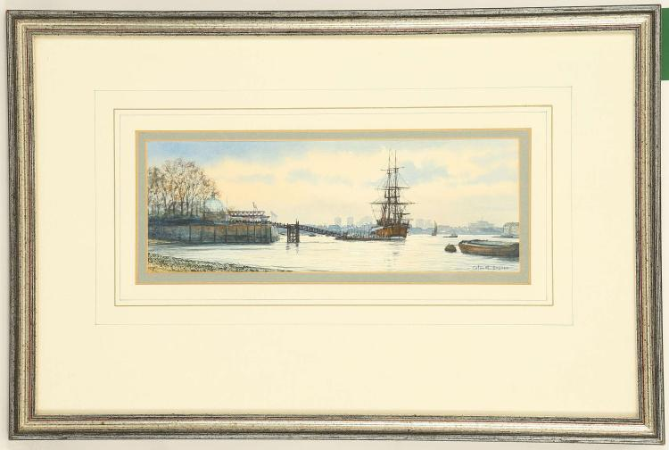 COLIN M. BAXTER. 'Replica of Cooks Endeavor at Greenwich, April 97', 'Thames Shipping circa 1895', 'Portsmouth at Dusk, Towing a Brig circa 1900'. Three fine watercolour and gouache marine scenes. All signed and inscribed. Mounted and framed, the largest 8.5cm x 24cm. (3).