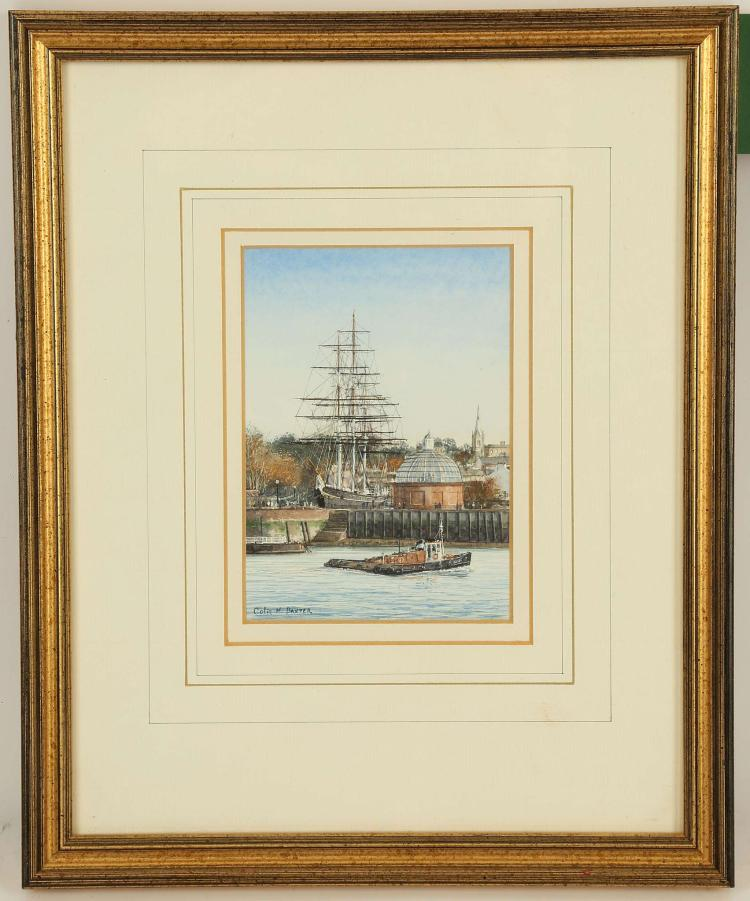 COLIN M. BAXTER, 'The Cutty Sark at Greenwich', 'Shipping off Gravesend circa 1900', 'Awaiting Restoration, Gosport', 'Universal Boatyard, Salisbury Green'. Four fine gouache and watercolour marine works. All signed and inscribed. Well mounted and framed. The largest 12.,5cm x 9cm (4).