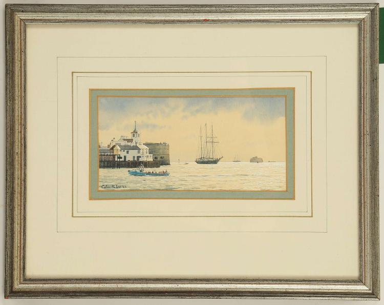 COLIN M. BAXTER, 'Portlight and Marjorie - Swale Barge Match', 'Rose Sailing into Spihead', 'Fishing Fleet Departing Mevagissey', 'Malcolm Miller entering Portsmouth Harbour'. Set of four marine gouache and watercolour scenes. All signed and inscribed. Well mounted and framed. The largest 7.5cm x 15cm (4).