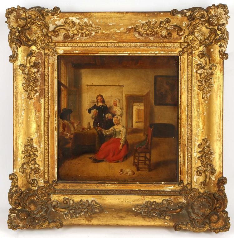 AFTER DE HOOG. 'The Proposal'. Oil on panel interior Dutch scene. A young woman has her wine glass filled by a suitor. Inscribed verso: 'Copied by R. Evans, about the year 1815. Framed. 20.5cm x 19cm.
