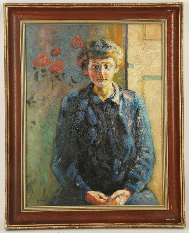AFTER HAROLD GILMAN 1876-1919. 'Laura Sylvia Gosse - 1913'. Oil on canvas version by a later hand. Framed and glazed. 45cm x 60cm.
