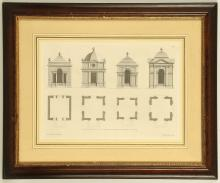 Jacob Gibbs 1682-1754 A good set of framed architectural engravings featuring elevations, plans and details. 26c, x 40cm. H. Hulsbergh, Engraver. (10)