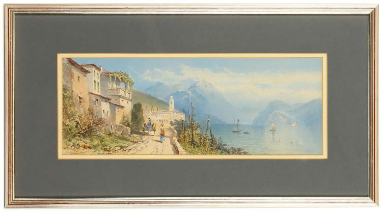 L. ROWLAND, 19th century British. 'Lake Como'. Watercolour and gouache lake view. Signed and indistinctly signed lower left. Dated 1863. Mounted, framed and glazed, 18 x 48cm.