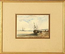 ATTRIBUTED TO WILLIAM CALLOW 1812-1908. 'Coast Scene with Shipping'. Watercolour. Indistinctly inscribed lower right. Bears signature verso, and is further inscribed verso on the mount; which indicates this work was once in the collection of Eward Seago. A very similar composition by Richard Parkes Bonnington is to be found in the collection of Aberdeen Art Gallery. Mounted and framed, 13cm x 18.4cm.