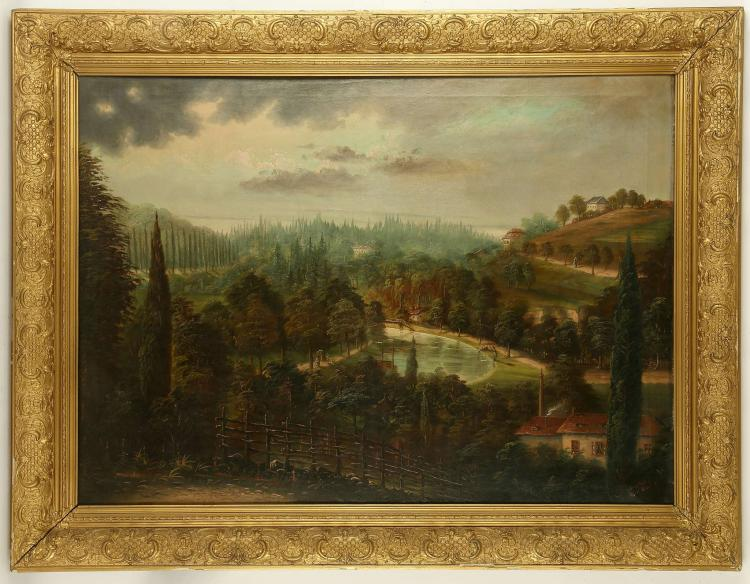 POLLAF, 19th Century European. 'A Forested Settlement'. Oil on canvas depiction of a colonial outpost, set around a river with distant estuary and landscape views. Signed indistinctly 'Pollaf' and dated 1880. 70cm x 100cm.