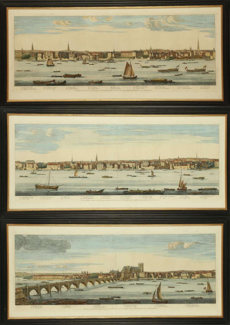 SAMUEL AND NATHANIAL BUCK 1696-1779. 'The New Bridge at Westminster'. Panoramic colour engraved depiction of the Thames across three plates. With 48 places and buildings of note identified. Published September 1749. Plate size: 31.5cm x 83cm. Mounted and framed (3).