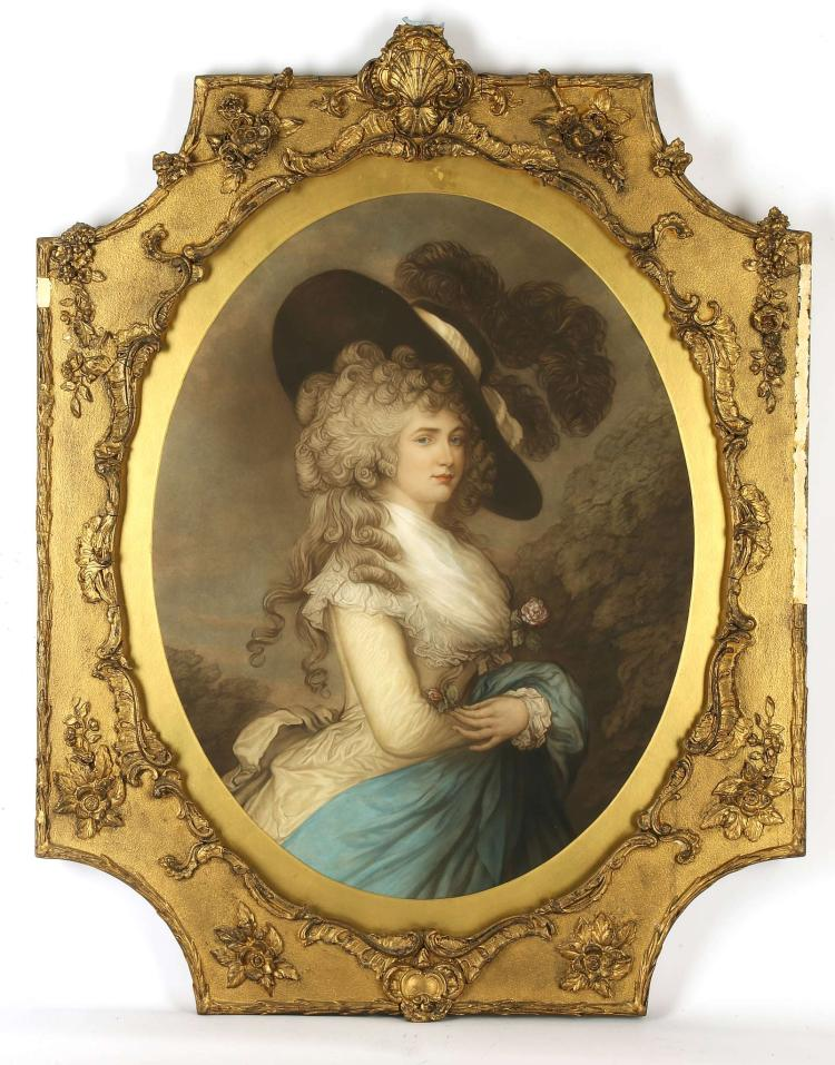 AFTER THOMAS GAINSBOROUGH 1727-1788. 'The Duchess of Devonshire'. Portrait mezzotint, in the oval. In an early 19th Century gesso and gilt frame in the rococo style. Mounted and glazed. 70cm x 54cm.