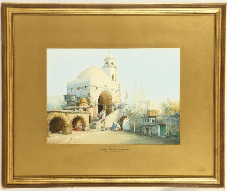 NOEL H. LEAVER A.R.C.A. 1889-1951. 'A Quiet Corner of Tangiers'. Watercolour with body colour. Signed lower left and inscribed on the mount. Framed, 26.5 x 37cm. Noel Leaver was one of the youngest pupils to enter the Royal College of Art.