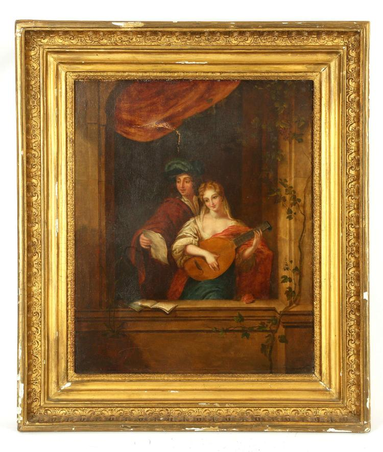CIRCA LATE 18TH CENTURY, POSSIBLY ITALIAN SCHOOL. 'The Music Lesson'. Oil on canvas depiction of a female lute player and her admirer. Set within an arched window with trailing vines. Unsigned. In original giltwood frame. 45 x 38cm. A/F.