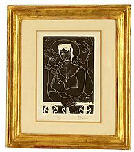 EDWARD BURRA 1905-1976. 'Balcony'. Woodcut. Artist proof, No. XII of IX. Pencil signed to the margin. Plate size 15cm x 10cm. Mounted and in a good giltwood frame.
