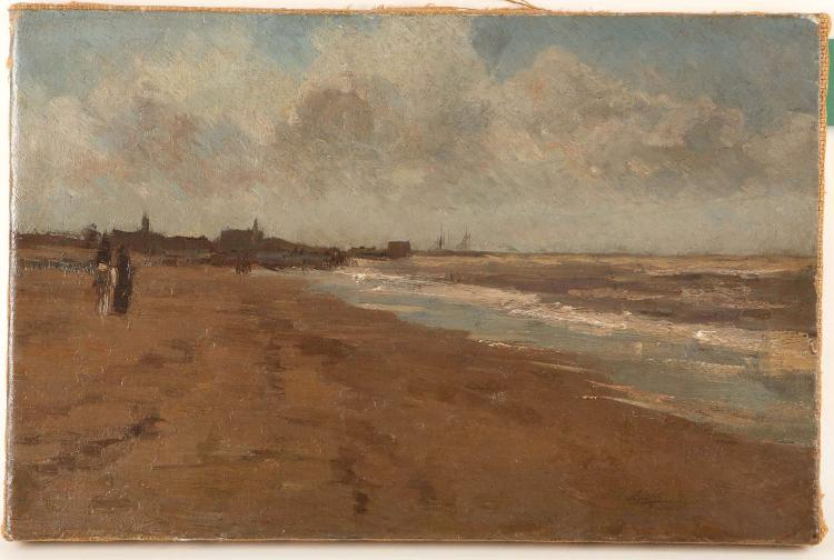 ATTRIBUTED TO WILLEM MARRIS 1844-1910. 'The Coast of Scheveningen on a Stormy Day'. Oil on canvas au plein air view of the beach at Scheveningen with white tipped rolling waves, and a singly donkey with rider. In the distance, fine masts and shipping. Signed 'W. Maris' lower right. Re-lined. 27cm x 41cm.