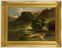 FRANCIS THOMAS CARTER 1853-1934. 'Lakeland scene, possibly Derwent Water'. Oil on board. Signed lower right. Mounted, framed and glazed, 32cm x 44cm.