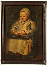 AFTER PETER PAUL RUBENS 1577-1940. 'Le Fils de Rubens / Ruben's Son'. Oil on milled board, inscribed verso and attributed to Felix Moscheles. Framed, 39cm x 27cm. Together with an engraved version of the same portrait, published 1762, France. Framed, 35cm x 22cm (2).