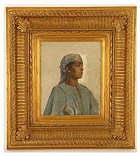 RALLI THEODORE JACQUES (GREEK, 1852-1909). Portrait study of a young Oriental Bedouin girl. Oil on panel. Bearing original Greek export stamp on the back, 29cm x 24cm. Ralli was born in Constantinople of Greek parents. He studied in Paris in the atelier of the leading pompier painter of the time, Jean-Lèon Gèrôme. He exhibited regularly at the Salon De Paris and was enthusiastically received by the French critics. His later work is characterised by scenes of the exotic world of the East with his charcteristic attention to detail and powers of observation and virtuosity in rendering the human face, capturing the aesthetic race of a young Oriental beauty.