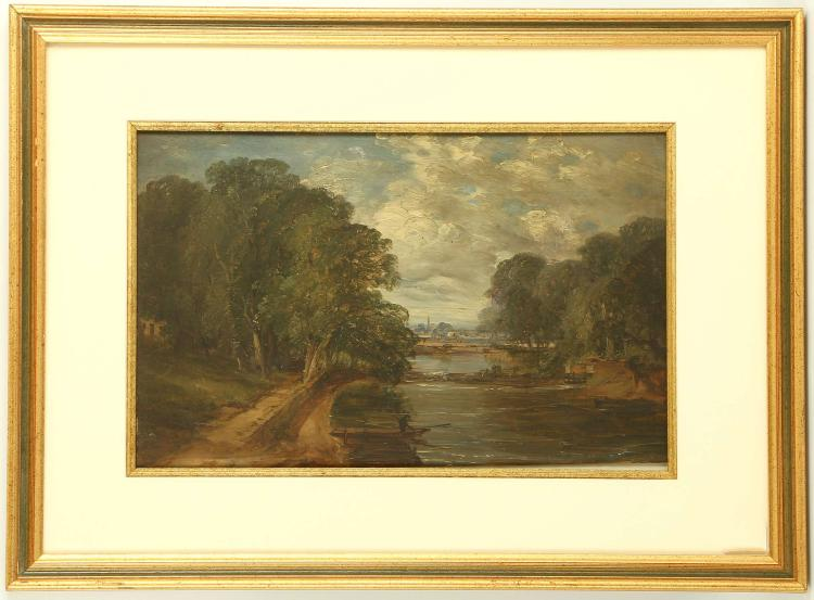 ENGLISH SCHOOL CIRCA 1800. Oil on milled board, riverscape view with prospect towards a distant spire. Unsigned. Possibly a preliminary sketch for a larger work. Mounted and framed, 25cm x 39cm.