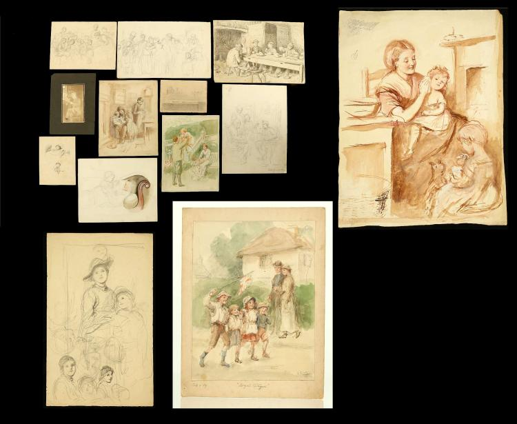 JOSEPH CLARKE 1834-1926. An exceptional collection of original drawings and watercolour sketches. Predominately interior scenes of children, mothers and events. Many signed. Born in Dorchester, Clark studied under J.M. Leigh - the only pupil of William Etty. Widely collection and admired. Unmounted. Approx 200.
