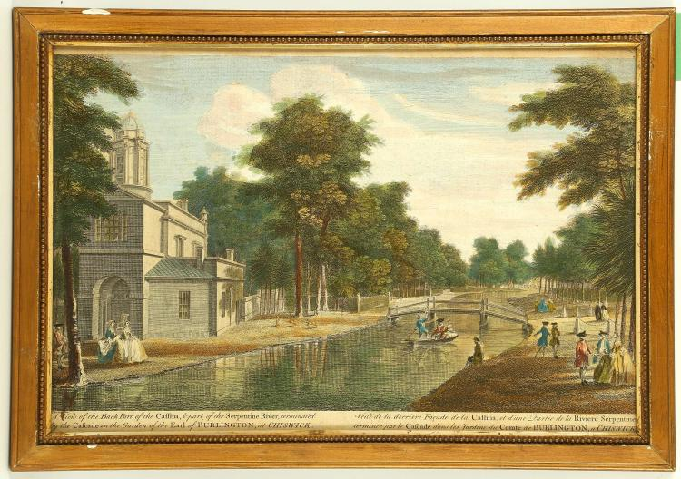 A GOOD TRYPTICH OF CHISWICK HOUSE, coloured engravings. Published 1753. Titles: 'A View of the Cascade', 'A View of the Three Walks', 'View of the Serpentine River'. Mounted, framed and glazed. 26cm x 39.5cm (3).