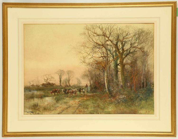 HENRY CHARLES FOX 1855-1929. 'Woman with a small herd of cows by a marsh'. Rural landscape watercolour. Signed and dated 1905. With label verso for the Pym Gallery. Mounted and framed. 52 x 72cm.