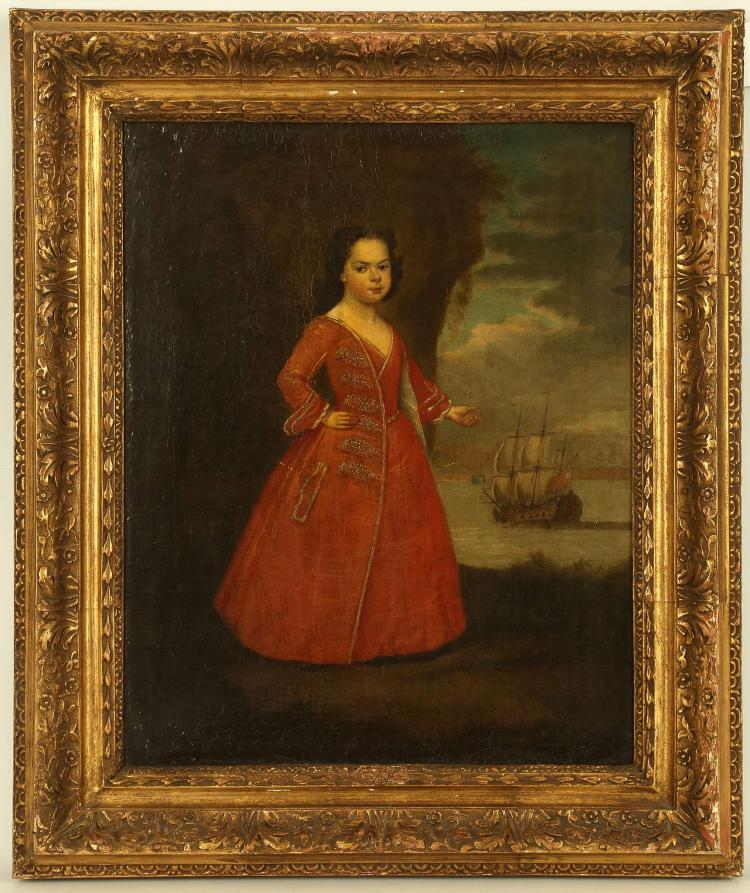 CIRCA 1650/1700 SPANISH SCHOOL. Oil on canvas, pair of portraits. The first depicting a young woman in red gesturing towards a Spanish war shop in a vignetted sea view, the second of a young man in a blue suit with white stockings, set in an interior of red velvet drapes and classical urns. Unsigned. Re-lined. Presented in matching giltwood frames. 48cm x 38cm (2).