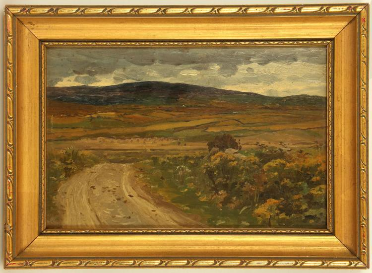 ENGLISH SCHOOL, CIRCA MID 20TH CENTURY. A pair of interesting oil on board summer landscape works by the same hand. Unsigned. Framed. 14.5cm x 21.5cm (2).