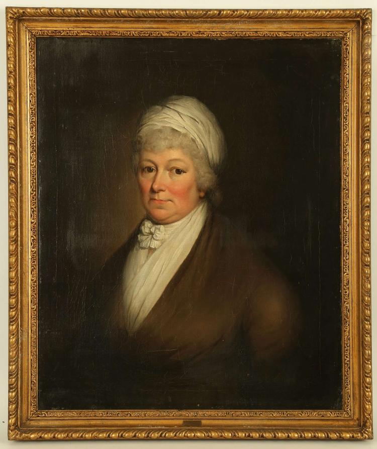 S. HENSON, ENGLISH SCHOOL, CIRCA 1800. 'Portrait of a Lady'. Oil on canvas, the sitter with white fischu and headdress. With engraved nameplate. Re-lined. In a good giltwood frame. 72cm x 58cm.