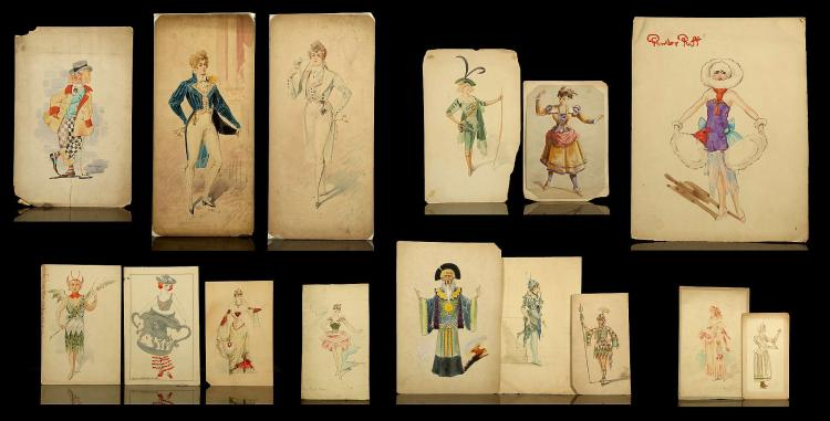 A good selection of circa 1900 original theatrical costume designs in watercolour and gouache. By Alfredo Edel 1859-1912, and other hands. Characters depicted include: Robin Hood, Little Bo Beep, Tinkerbell, Aladdin, Powder Puff, Elves, Regency Dandy, Dancers and others. Various sizes, 40 x 19cm (largest). Unframed. (17).