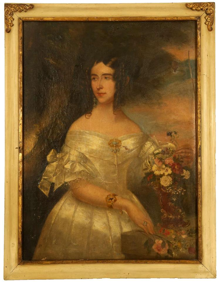 CIRCA 1820/40, ENGLISH SCHOOL. 'Portrait of a Refined Lady in White'. Oil on canvas. The sitter in white silk dress augmented with jewels, and within a floral setting with distant views. Unsigned. In original frame (A/F).
