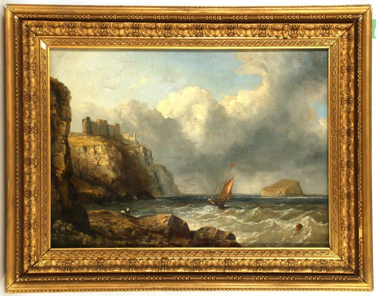 BRITISH SCHOOL CIRCA 1800. 'Berwick Castle with the Bass Rock'. Oil on canvas marine scape. Unsigned. In a giltwood frame, 50cm x 68cm.